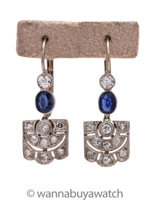 Vintage Art Deco Platinum & WG Diamond Sapphire Dangle Earrings 0.60ct
