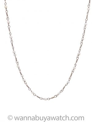 "Vintage 14K White Gold and Pearl Chain 17.5"" circa 1930s"