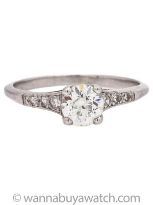Vintage Engagement Ring Platinum 0.65ct Transitional Cut H-VS1 circa 1930s