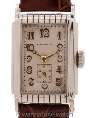 Longines WG Filled Classic Art Deco Tank circa 1930's