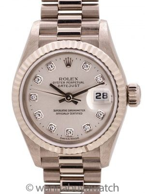 Lady Rolex President ref 79179 18K WG Factory Diamonds circa 1999