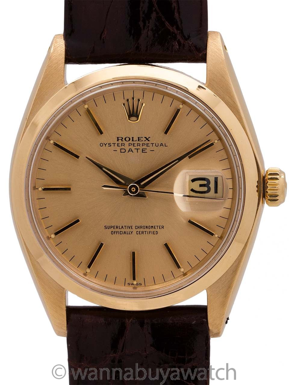 5898dce9ad4 Rolex Oyster Perpetual Date ref 1500 14K YG circa 1958