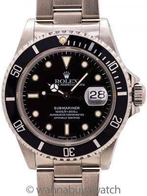 Rolex Submariner ref# 16610 Patina'd Tritium circa 1993 Papers