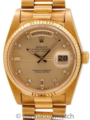 Rolex ref 18038 Day Date President 18K YG Diamond Dial circa 1985 w/ Service Papers