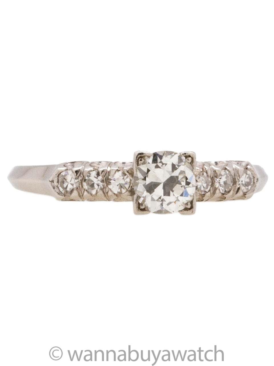 Platinum Diamond 0 33ct Oec 1940s Circa Si1 H Vintage Engagement Ring zMVqSUpG