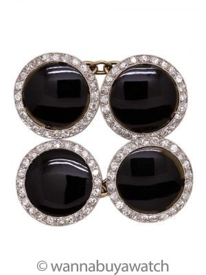 Antique Onyx & Diamond White Gold Cufflinks