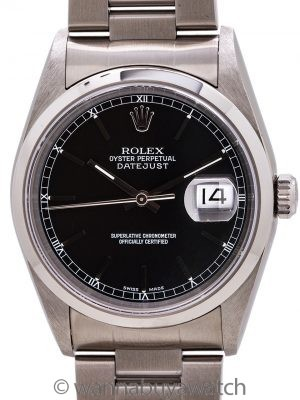 Rolex Stainless Steel Datejust ref 16200 Black Dial circa 2002