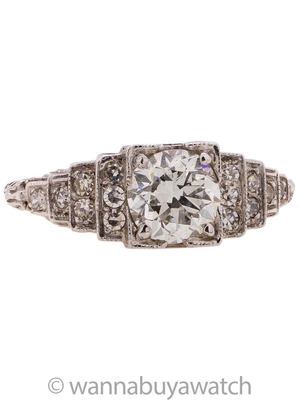 4c1ba44f46fb9 Vintage Art Deco Engagement Ring Platinum 1.23ct OEC H/VS1 circa 1920s